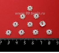 Шапочка для бусин Марокко, 8,5*3 мм, цвет светлое серебро, 10 штук/упаковка 060374 - 99 бусин