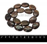 Натуральный камень БРОНЗИТ, бусина овальная плоская 25*18**6 мм, золотисто-коричневые тона, около 40 см/нить 060388 - 99 бусин