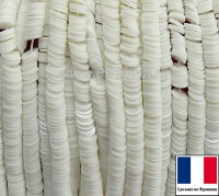 Пайетки 3 мм Франция плоские на нити цвет 11001 off-white - глянцевый выбеленный (Серия Glossy Porcelain) 1000 штук 060406 - 99 бусин