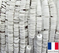 Пайетки 3 мм Франция плоские на нити цвет 11002 white - глянцевый белый (Серия Glossy Porcelain) 1000 штук 060408 - 99 бусин