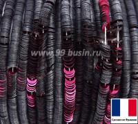 Пайетки 3 мм Франция плоские на нити цвет 2522 raspberry - малиновый (Серия ETINCELLE) 1000 штук 060416 - 99 бусин