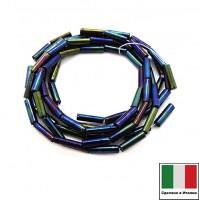 Стеклярус Винтажный 7 мм, гладкий, на нити, цвет сине-зеленый ирис, нить 50 см (ок 3 гр), Италия 060424 - 99 бусин