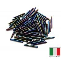 Стеклярус Винтажный 15 мм, гладкий, цвет сине-зеленый ирис, 5 грамм/упаковка, Италия 060425 - 99 бусин