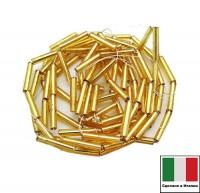 Стеклярус Винтажный 10 мм, гладкий, на нити, цвет золотистый огонек, 50 см/нить, Италия 060427 - 99 бусин