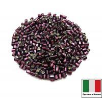 Рубка Винтажная 2 мм, граненая, цвет темно-лиловый огонек, 5 грамм/упаковка, Италия 060428 - 99 бусин
