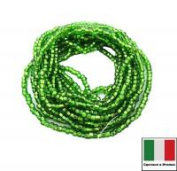 Бисер Винтажный круглый 10 размер (2,2-2,4 мм) на нити, квадратное отверстие, цвет ярко-зеленый огонек, около 12 грамм/упаковка (3 нити по 50 см), Италия 060429 - 99 бусин