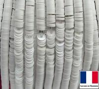 Пайетки 3 мм Франция плоские на нити цвет 5002 - White - белый ориентал (Серия ORIENTAL)1000 штук 060430 - 99 бусин