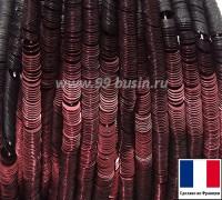 Пайетки 3 мм Франция плоские на нити цвет 2074-s metallic dark burgundy (Серия METALLIC) 1000 штук 060438 - 99 бусин