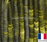 Пайетки 3 мм Франция плоские на нити цвет 10056 yellow - салатовый сатин (Серия METALLIC MAT ASPECT) 1000 штук 060440 - 99 бусин