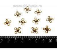 Коннектор Узелок квадратный 10*10 мм, 4 петли, цвет античное золото 10 штук/упаковка 060452 - 99 бусин