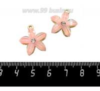 Подвеска Цветок со стразиком, акриловый в металлической оправе, 21*19 мм, цвет нежный розово-персиковый/золото, 1 штука 060459 - 99 бусин