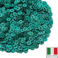 Пайетки Италия гофрированные 4 мм цвет G9 smeraldo (изумруд) 3 грамма 060486 - 99 бусин