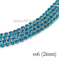 Стразовая цепочка 2 мм (ss6) цвет ярко-голубой/серебристый Тайвань 0,5 метра 060506 - 99 бусин