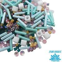 Бисер TOHO Beads Mix, цвет 07 Beige/Turquoise, 10 грамм/упаковка 060569 - 99 бусин