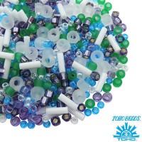 Бисер TOHO Beads Mix, цвет 3229 Fuji- White/Green/Blue/Purple, 10 грамм/упаковка 060570 - 99 бусин