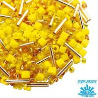 Бисер TOHO Beads Mix, цвет 01, Yellow/Gold 10 грамм 060573 - 99 бусин