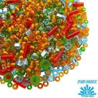 Бисер TOHO Beads Mix, цвет 3228 Haiku - Orange/Green/Blue, 10 грамм/упаковка 060574 - 99 бусин