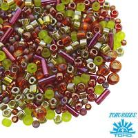 Бисер TOHO Beads Mix, цвет 3227 Ureshii- Olivine/Orange, 10 грамм/упаковка 060576 - 99 бусин