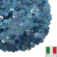 Пайетки Италия плоские 4 мм Blu Trasparente Iridato I12 (Светлый синий прозрачный радужный) 3 грамма 060617 - 99 бусин