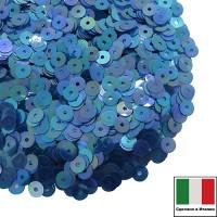 Пайетки Италия плоские 4 мм Blu scuro trasparente Iridato I13 (Тёмно-синий прозрачный радужный) 3 грамма 060618 - 99 бусин
