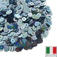 Пайетки Италия плоские 4 мм Azzurro metall. Iridato MI04А (Голубой радужный металлик) 3 грамма 060620 - 99 бусин