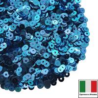 Пайетки Италия METAL 3 мм  цвет M23 ярко-синий 3 грамма 060637 - 99 бусин