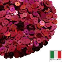 Пайетки Италия плоские 3 мм Rosso Ciliegia metall. Iridato MI04 (Вишнево-красный радужный металлик) 3 грамма 060639 - 99 бусин