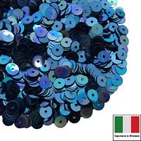 Пайетки Италия плоские 3 мм Blu metall. Iridato MI05 (Синий радужный металлик) 3 грамма 060641 - 99 бусин