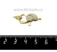 Замок карабин Улитка 25*12 мм с колечком, с микроцирконами, желтая позолота, 1 штука 060718 - 99 бусин