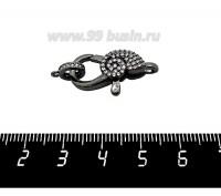 Замок карабин Улитка 25*12 мм с колечком, с микроцирконами, черное родирование, 1 штука 060719 - 99 бусин