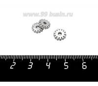 Разделитель Премиум Шестеренка с микроцирконами 8*2 мм, родированный, 1 штука 060721 - 99 бусин