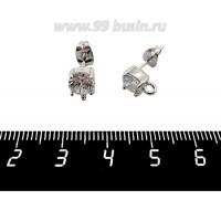 Пуссеты Премиум Циркон с петелькой 9*6 мм, металлические заглушки, родированные, 1 пара 060722 - 99 бусин