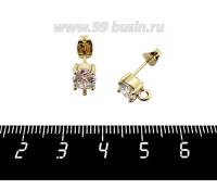 Пуссеты Премиум Циркон с петелькой 9*6 мм, металлические заглушки, желтая позолота, 1 пара 060723 - 99 бусин