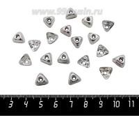 Колпачок чашечка треугольная 8,5*5 мм, цвет светлое серебро 20 штук/упаковка 060755 - 99 бусин