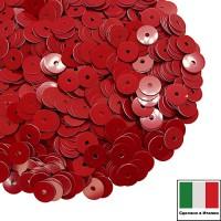 Пайетки Италия лаковые 3 мм цвет Rosso (алый) 3 грамма 060780 - 99 бусин