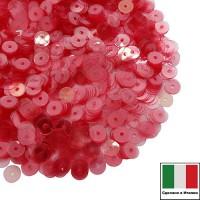 Пайетки Италия LUSTRE 3 мм прозрачные красные 3 грамма 060797 - 99 бусин