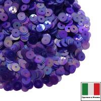 Пайетки Италия плоские 3 мм Viola Trasparente Iridato I10 (фиолетовый прозрачный радужный) 3 грамма 060800 - 99 бусин