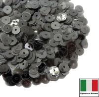Пайетки Италия LUSTRE 4 мм прозрачные цвет графит 3 грамма 060801 - 99 бусин