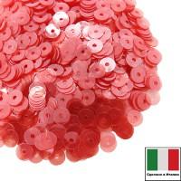 Пайетки Италия LUSTRE 4 мм прозрачные тёплые красные 3 грамма 060803 - 99 бусин