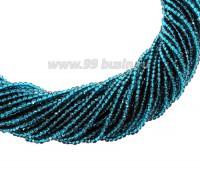 Бусины хрустальные граненые на нити 2*2 мм, тёмная морская волна, около 35 см нить/165 бусин 060819 - 99 бусин