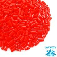 Стеклярус TOHO BUGLE 3 мм № 0050 оранжево-красный 5 граммов Япония 060828 - 99 бусин