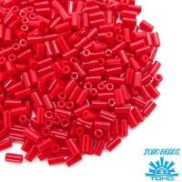 Стеклярус TOHO BUGLE 3 мм № 0045A красный  глянцевый 5 граммов Япония 060829 - 99 бусин