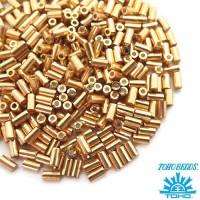Стеклярус TOHO BUGLE 3 мм № 0557 золото 5 граммов Япония 060834 - 99 бусин