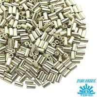 Стеклярус TOHO BUGLE 3 мм № 0558 серебро 5 граммов Япония 060835 - 99 бусин