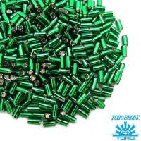 Стеклярус TOHO BUGLE 3 мм № 0036 темно-зеленый серебристое отверстие 5 граммов Япония 060842 - 99 бусин