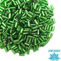 Стеклярус TOHO BUGLE 3 мм № 0027B зеленый серебристое отверстие 5 граммов Япония 060843 - 99 бусин