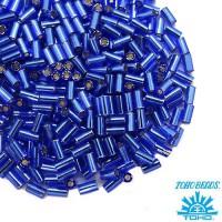 Стеклярус TOHO BUGLE 3 мм № 0028 синий серебристое отверстие 5 граммов Япония 060845 - 99 бусин