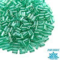 Стеклярус TOHO BUGLE 3 мм № 0920 бирюзовый перламутр 5 граммов Япония 060849 - 99 бусин