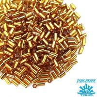 Стеклярус TOHO BUGLE 3 мм № 0022C медовый серебристое отверстие 5 граммов Япония 060856 - 99 бусин