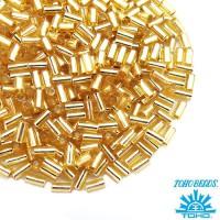 Стеклярус TOHO BUGLE 3 мм № 0022 светлый золотистый серебристое отверстие 5 граммов Япония 060857 - 99 бусин